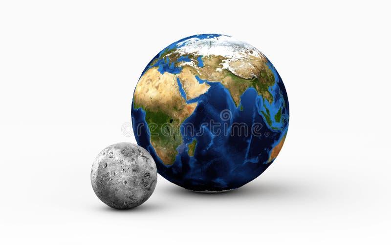 illustration 3d av jord med månebeståndsdelar av denna bild som möbleras av NASA stock illustrationer