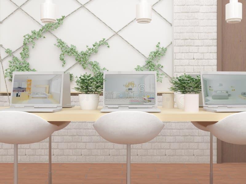 illustration 3D av kabinettet med datorer på tabellen, gröna växter och stolar stock illustrationer