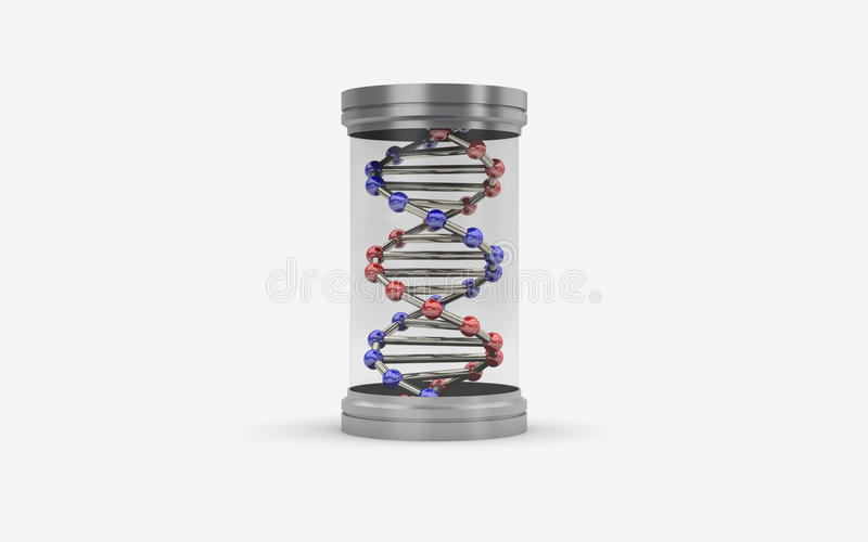 illustration 3d av kapseln med DNA royaltyfri illustrationer