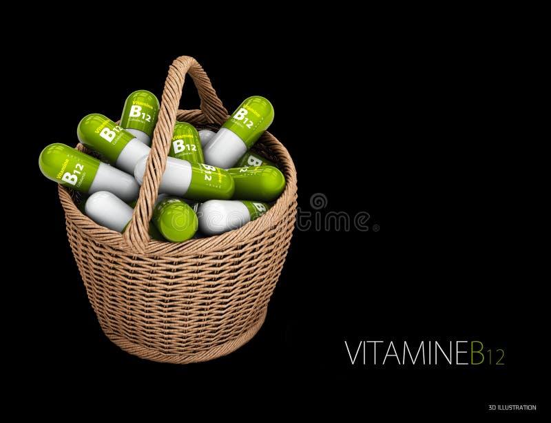 illustration 3d av kapslar för vitamin B12 i korgen dietary supplements Isolerad svart stock illustrationer