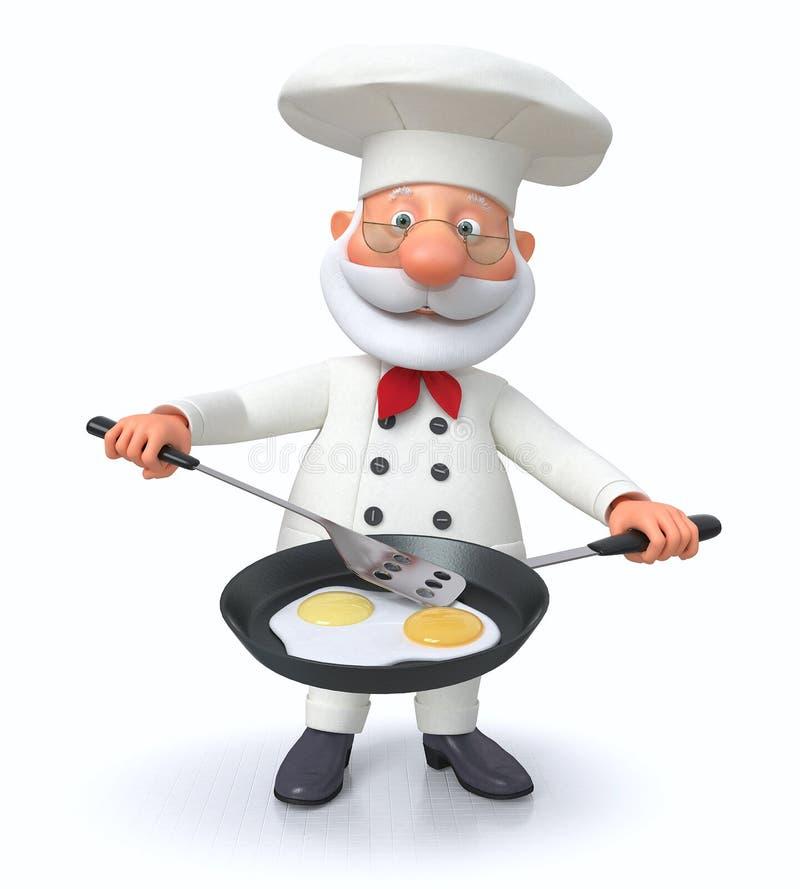 illustration 3D av kocken med en stekpanna stock illustrationer