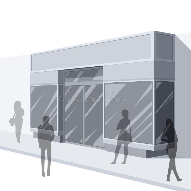 illustration 3D av lagerframdelen med shoppare stock illustrationer