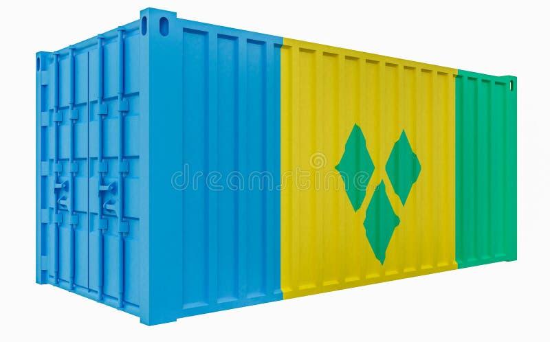 illustration 3D av lastbehållaren med den Saint Vincent och Grenadinerna flaggan vektor illustrationer