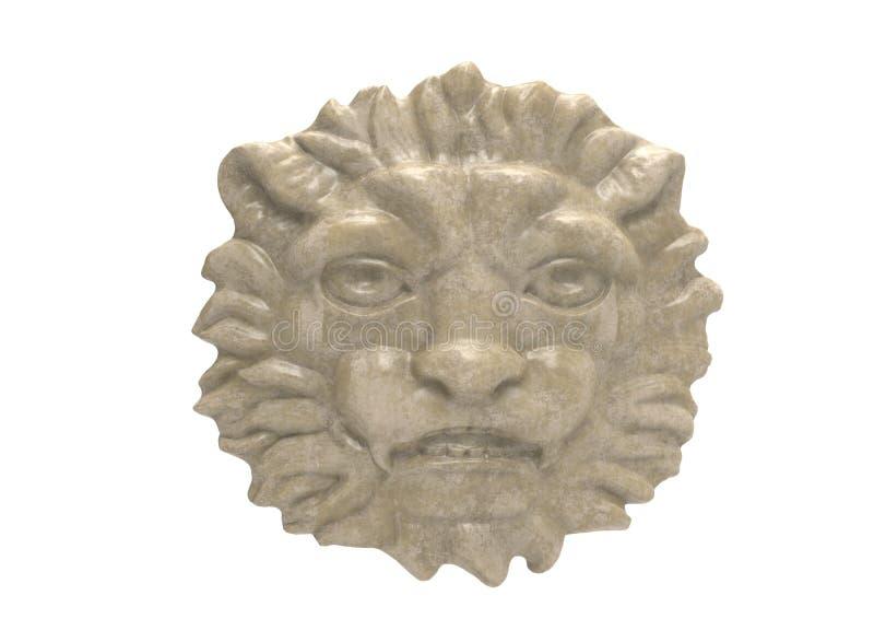 illustration 3d av lejonhuvudet metallhuvud av ett lejon smyckenhuvud av lejonet guld- huvud av lejonet trähead lion genomskinlig royaltyfri illustrationer