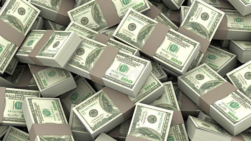 illustration 3D av många däck av pengar 100 dollar royaltyfri fotografi