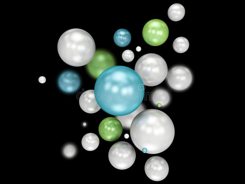 illustration 3d av mångfärgade dekorativa bollar blured svart bakgrund stock illustrationer