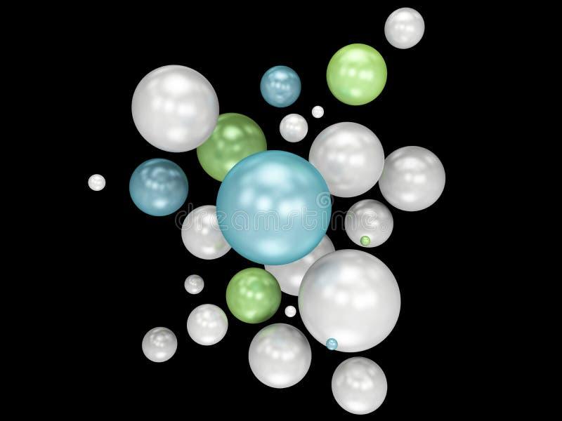 illustration 3d av mångfärgade dekorativa bollar Isolerad svart stock illustrationer