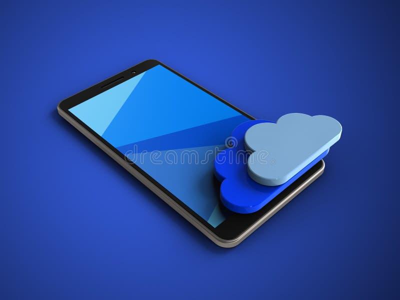 illustration 3d av mobiltelefonen över blå bakgrund med moln vektor illustrationer