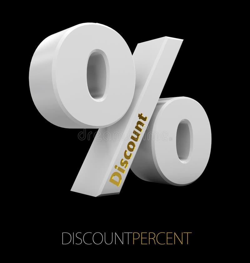 illustration 3d av procenttecknet med rabattord som isoleras på svart royaltyfri illustrationer