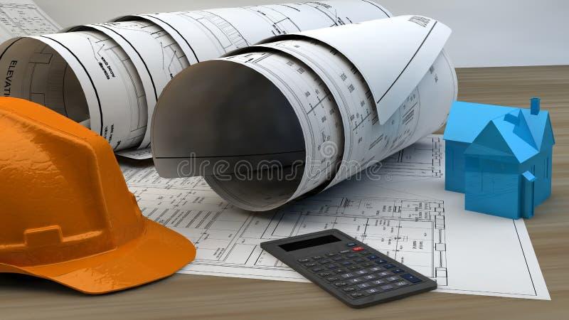 illustration 3d av ritningar, husmodellen och konstruktionsutrustning royaltyfri bild