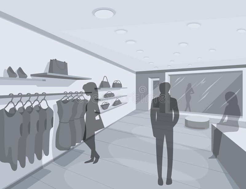 illustration 3D av shoppare i lager vektor illustrationer
