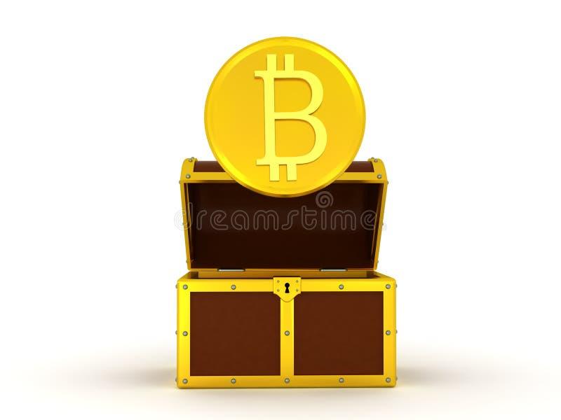 illustration 3D av skinande guld- bitcoin som kommer ut ur bröstkorg stock illustrationer