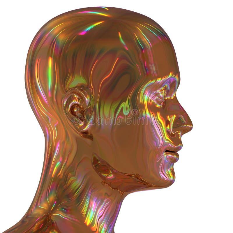 illustration 3d av stiliserat guld- färgrikt för manjärnhuvud kontur stock illustrationer