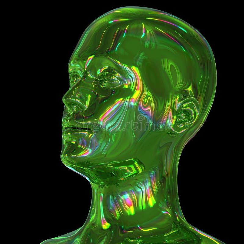 illustration 3d av stiliserat metalliskt grönt glansigt färgrikt för man huvud vektor illustrationer