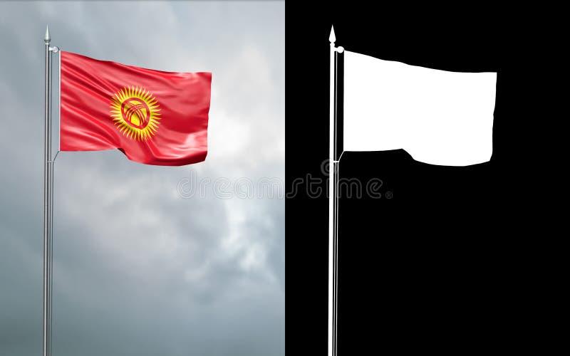 illustration 3d av tillståndsflaggan av Republiken Kirgizistan royaltyfri illustrationer