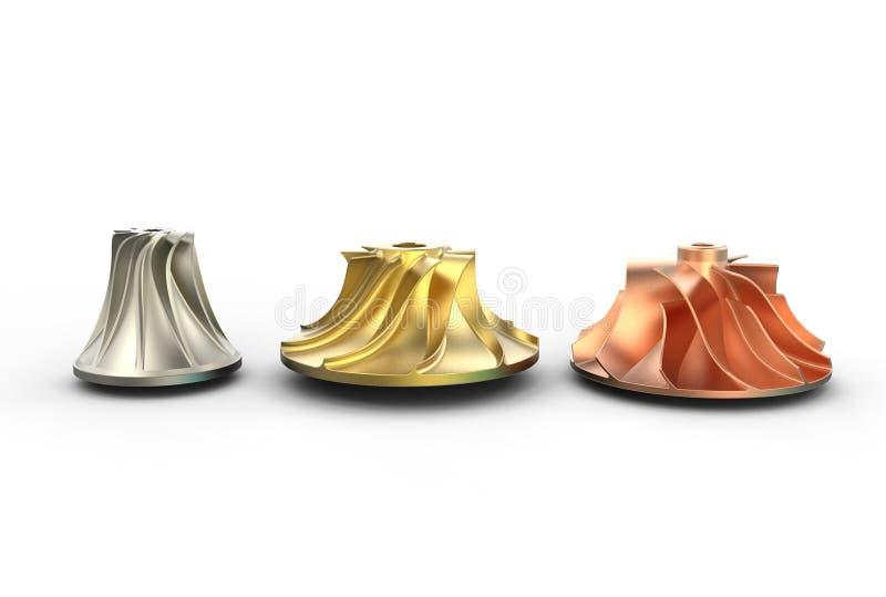 illustration 3D av turboladdareimpellers royaltyfri illustrationer