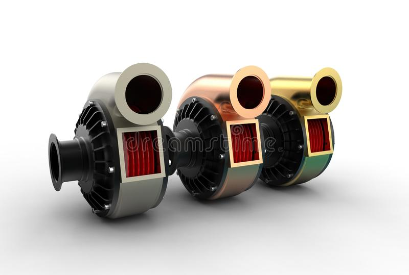 illustration 3D av turboladdarepumpar stock illustrationer