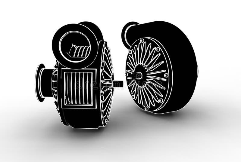 illustration 3D av turboladdarepumpar vektor illustrationer