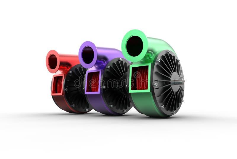illustration 3D av turboladdarepumpar royaltyfri illustrationer
