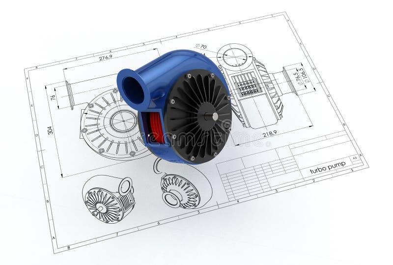 illustration 3D av turboladdarepumpen vektor illustrationer