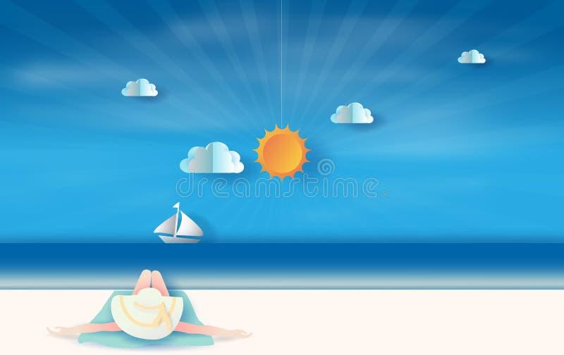 illustration 3d av unga kvinnor sexig bärande gul hatt och bikini som för bakre sikt solbadar koppla av sömn Tropisk varm sommars stock illustrationer