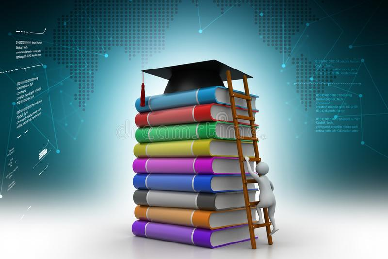 illustration 3d av utbildningsbegreppet stock illustrationer