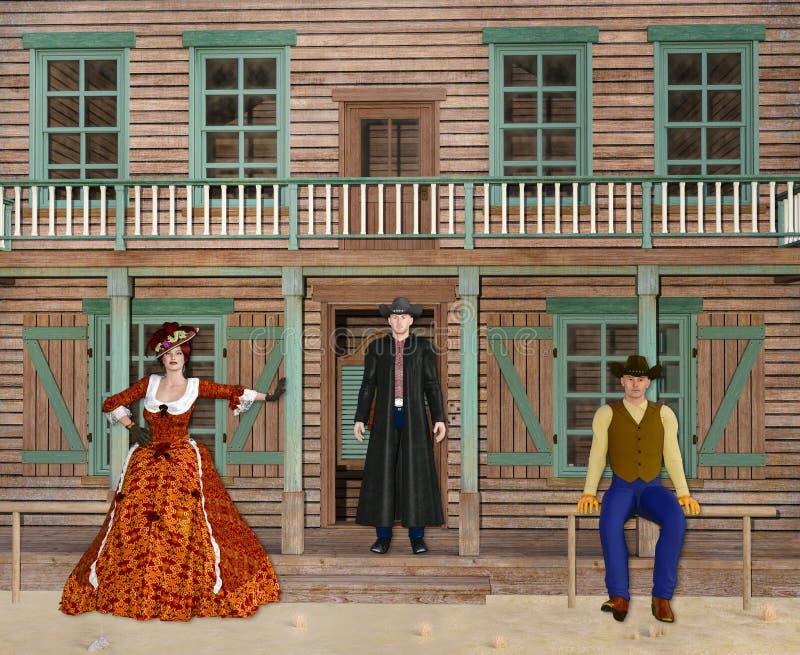 illustration 3D av vilda västernsalongen med cowboyer och översittare royaltyfri illustrationer