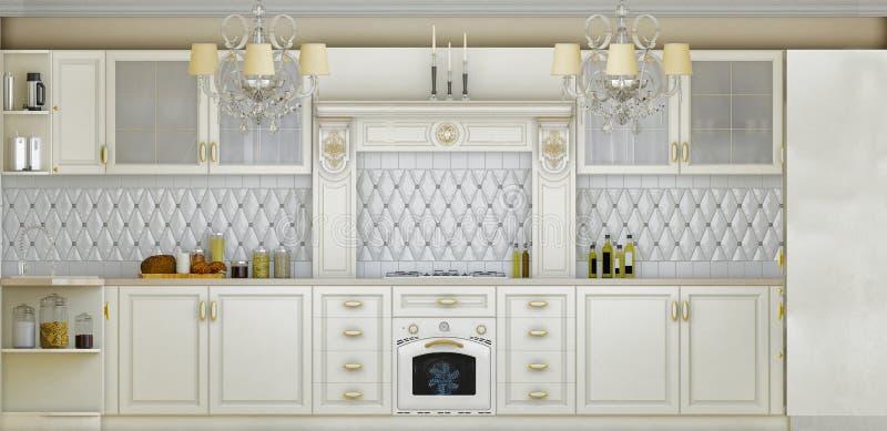 illustration 3D av vitt kök i klassisk stil stock illustrationer