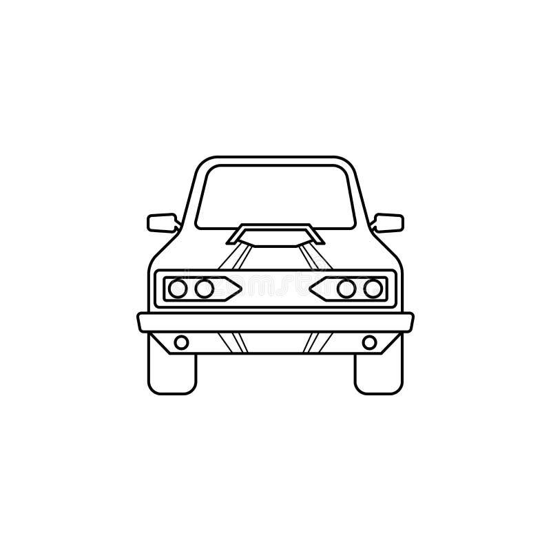 illustration d'avant de voiture de muscle Élément des courses extrêmes pour les apps mobiles de concept et de Web Ligne mince ill illustration de vecteur