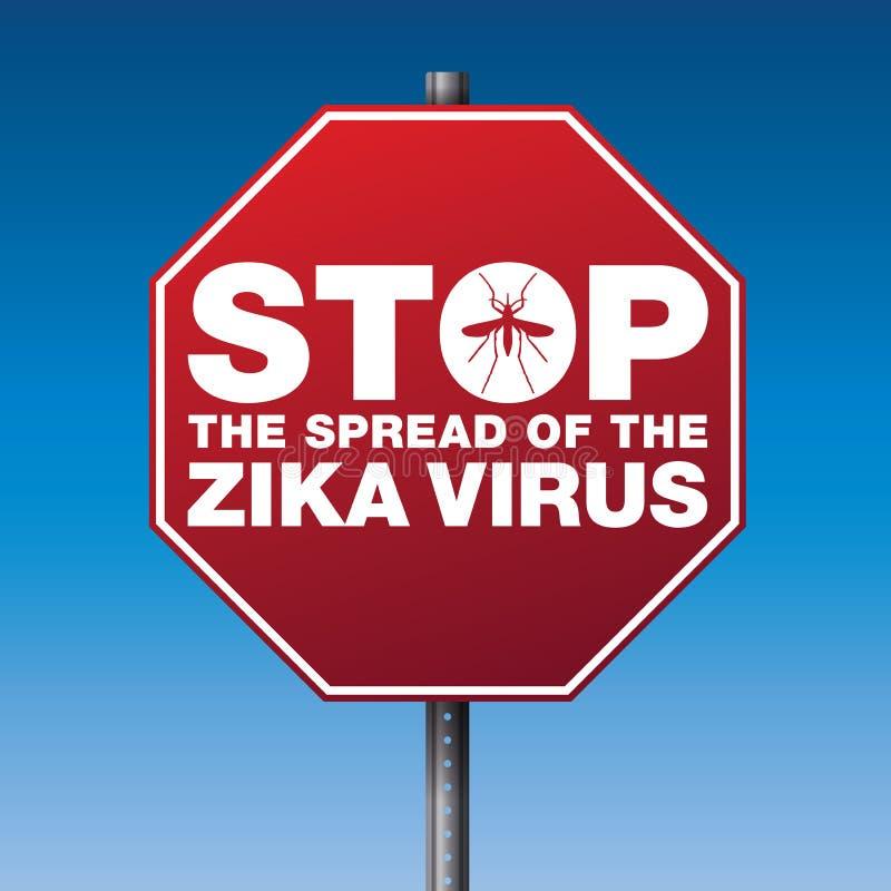 Illustration d'avertissement de signe d'arrêt de virus de Zika illustration de vecteur