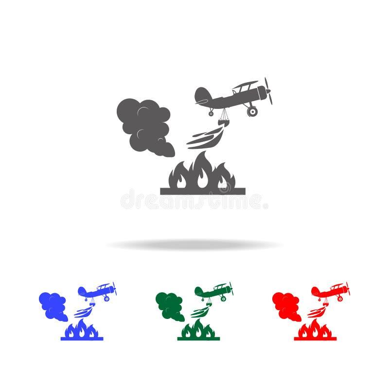 illustration d'avion de lutte contre l'incendie de délivrance dans l'icône d'air Éléments des icônes colorées multi de sapeur-pom illustration stock