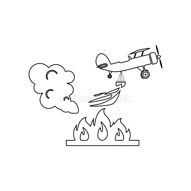 illustration d'avion de lutte contre l'incendie de d?livrance dans l'ic?ne d'air E Contour, l?g?rement illustration stock