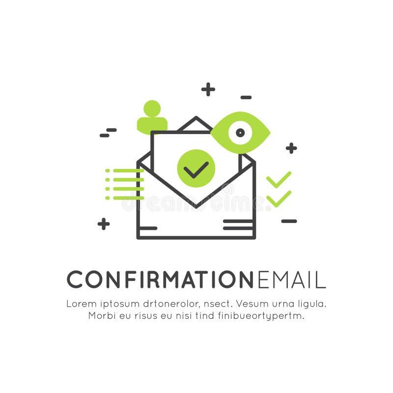 Illustration d'avis d'email de confirmation ou de message de poussée, courrier de l'information de bulletin d'information, illustration libre de droits