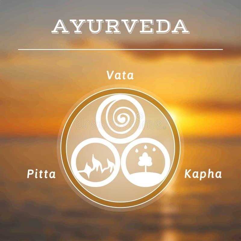 Illustration d'Ayurveda Doshas d'Ayurveda Fond brouillé de photo illustration de vecteur