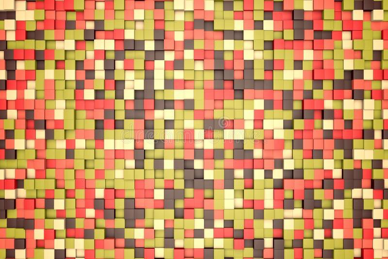 illustration 3d: bryner abstrakt bakgrund för mosaiken, kulöra kvarter, röd, rosa, grön, beige gul färg Nedgång höst Område av s royaltyfri illustrationer
