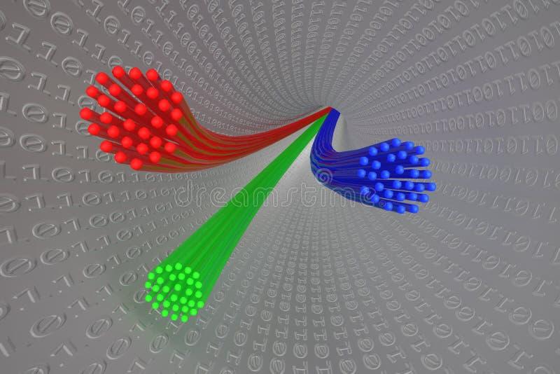illustration 3D : Câbles à fibres optiques rouges, bleus et verts illustration stock
