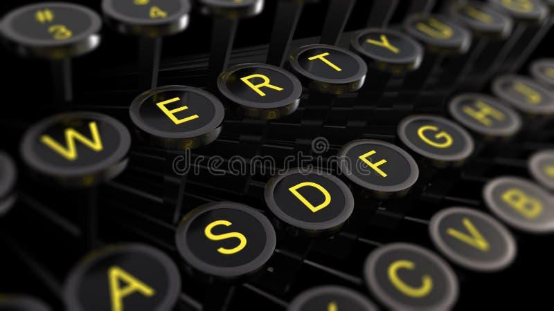 illustration 3d : Cl?s de machine ? ?crire de cru avec les lettres jaunes plan rapproch?, foyer au centre, tache floue aux bords  illustration libre de droits