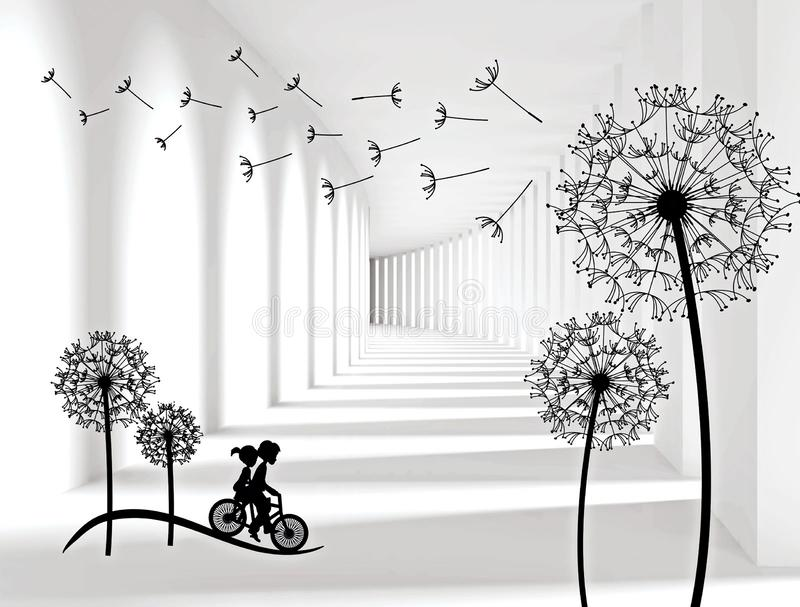 Illustration of 3D crystall ball silhouettes of dandelions pattern on decorative silver background 3D wallpaper and tunnel royalty free stock photos