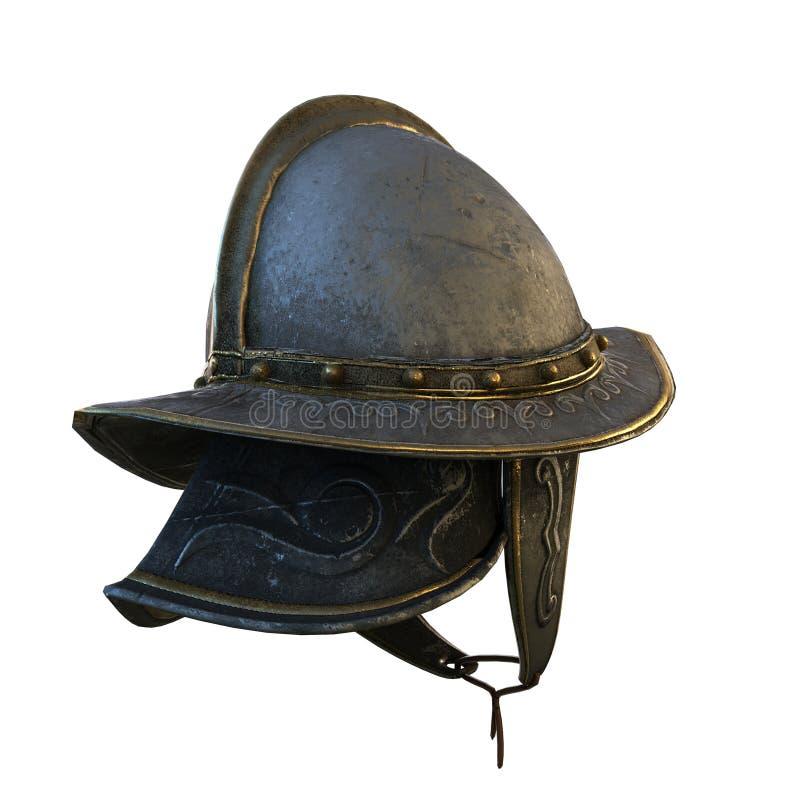 Illustration 3d décentrée du casque du conquérant antique en métal illustration stock