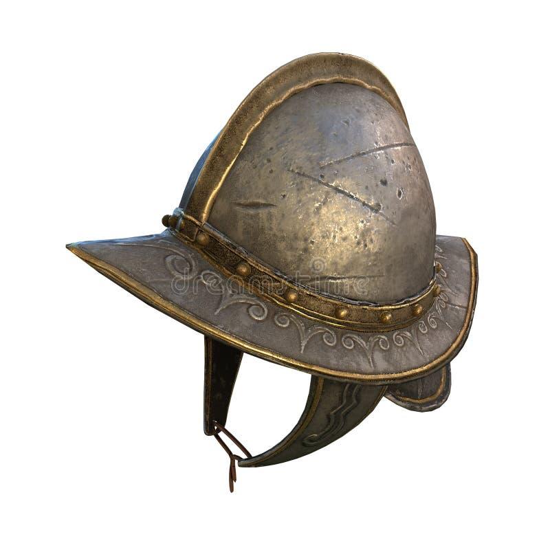 Illustration 3d décentrée du casque du conquérant antique en métal photo stock