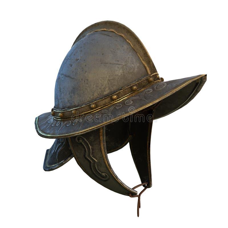 Illustration 3d décentrée du casque du conquérant antique en métal illustration libre de droits