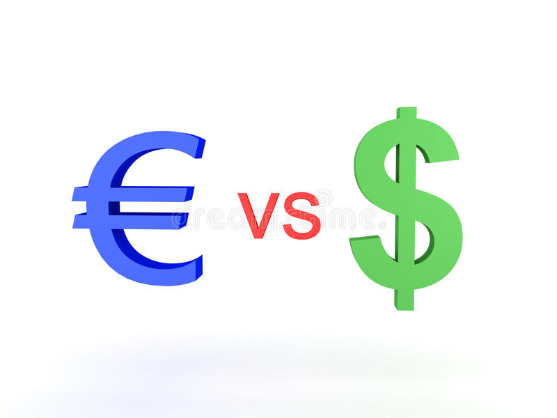 illustration 3D d'euro contre le dollar illustration libre de droits