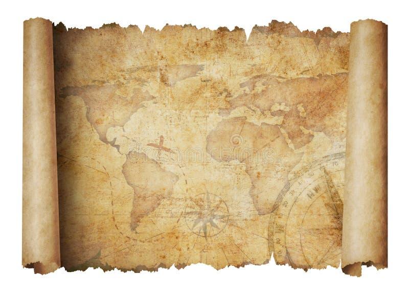 Illustration 3d d'isolement par carte de rouleau de Vieux Monde photo libre de droits