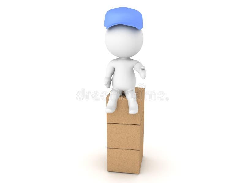 illustration 3D d'un livreur s'asseyant sur la pile de la boîte illustration libre de droits
