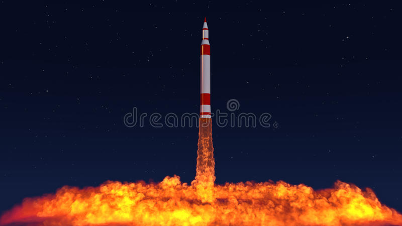 illustration 3D d'un missile balistique intercontinental illustration stock
