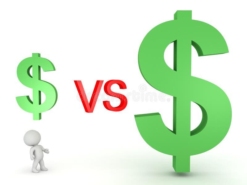 illustration 3D d'un petit symbole du dollar contre un grand sym du dollar illustration libre de droits