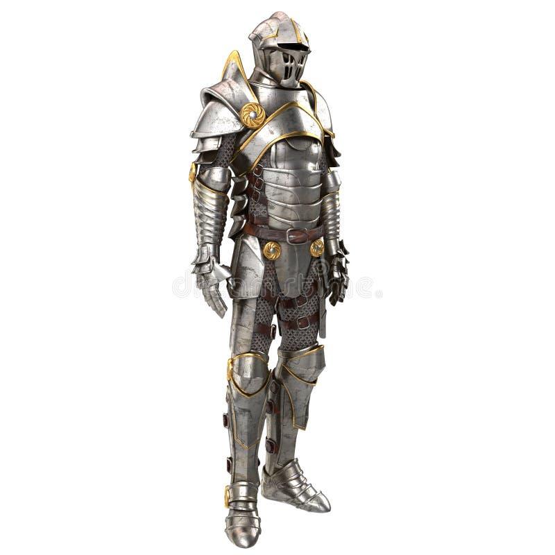 illustration 3d d'un plein costume d'armure d'isolement sur le fond blanc image libre de droits