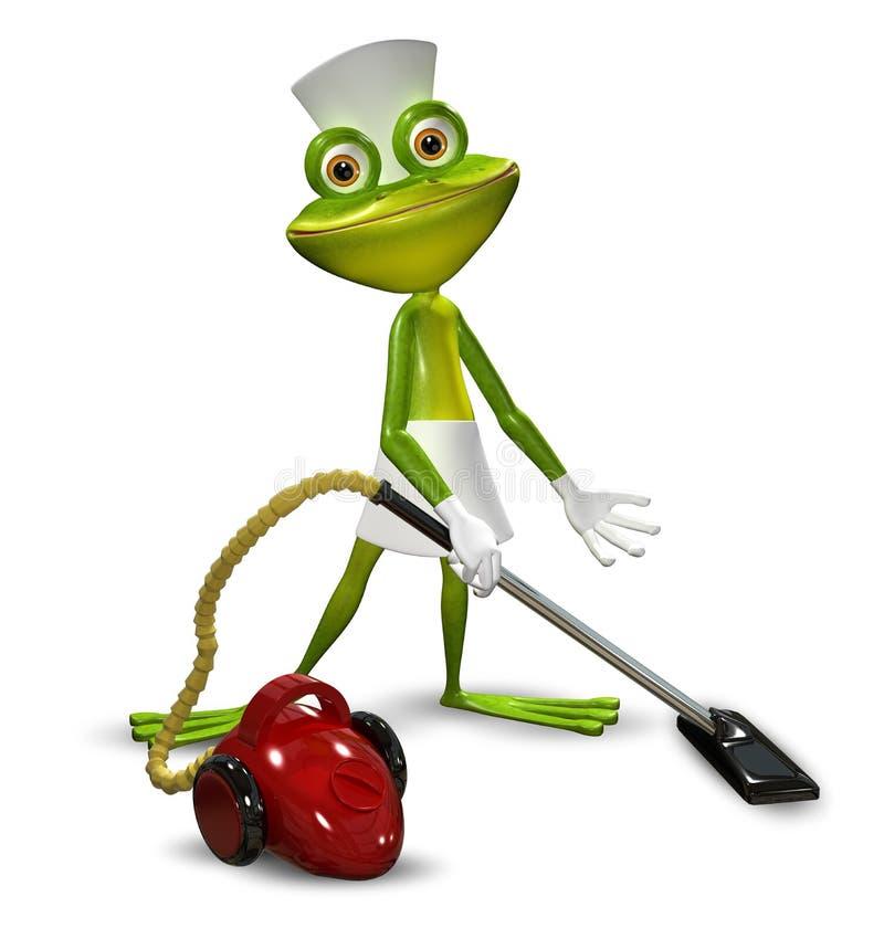 illustration 3d d 39 une grenouille avec nettoyer l 39 aspirateur de domestique image stock. Black Bedroom Furniture Sets. Home Design Ideas