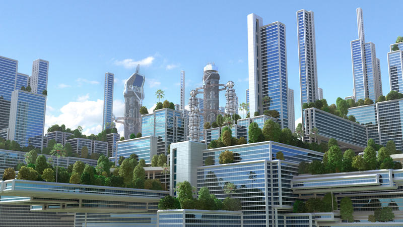 illustration 3D d'une ville futuriste illustration stock