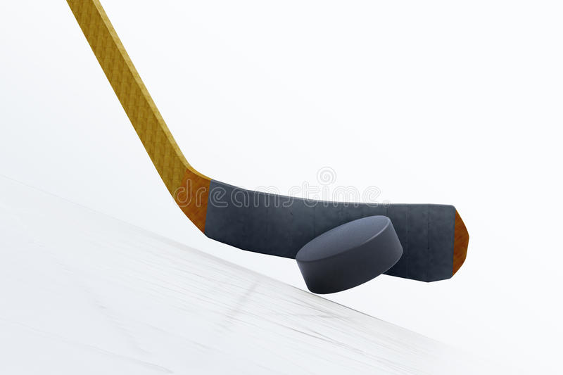 illustration 3d de bâton de hockey et de galet de flottement sur la glace illustration libre de droits
